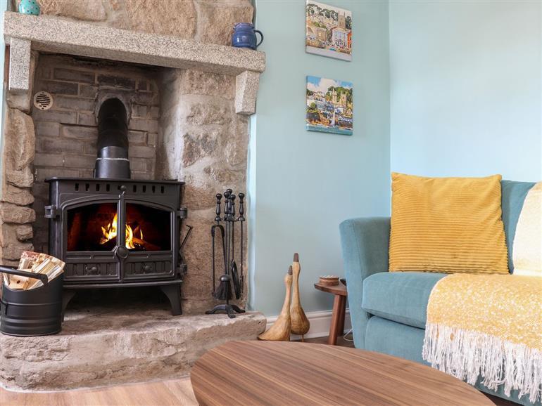 The living room at Flintstone Cottage in Pendeen
