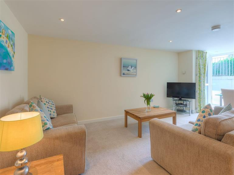 This is the living room at Golden Sands in St Ives