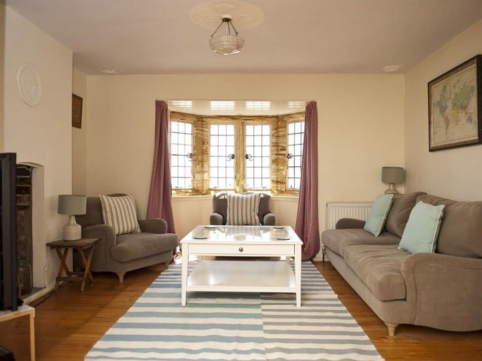 Living room in Fossil House, Lyme Regis