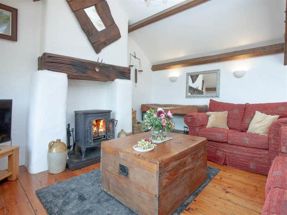 Living room in Higher Broadaford Barn, Ugborough, near Ivybridge