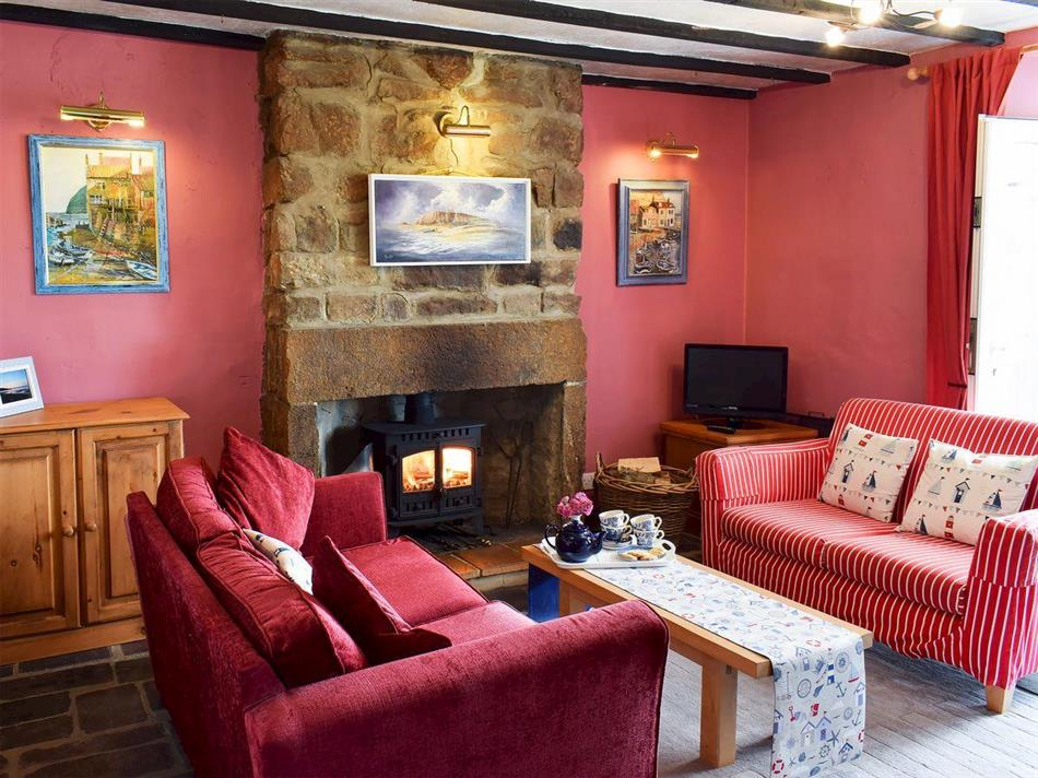 Living room in Sea Breeze Cottage, Cowbar, near Staithes