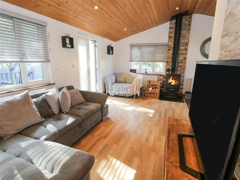 This is the living room at No. 77- Honey Bee Lodge in Wilberfoss