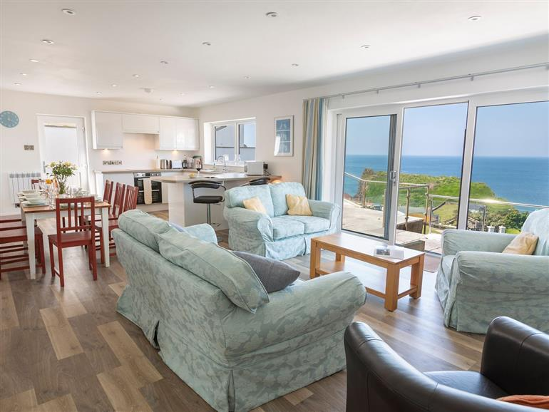 The living room at Ocean View in Hope Cove