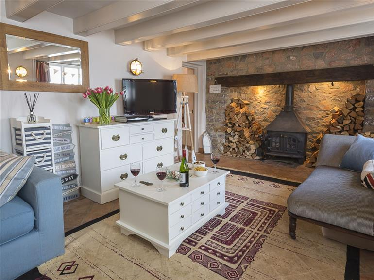 This is the living room at Quay Cottage (Dittisham) in Dittisham