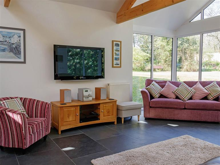 This is the living room at The Old Vicarage Retreat in Luxulyan