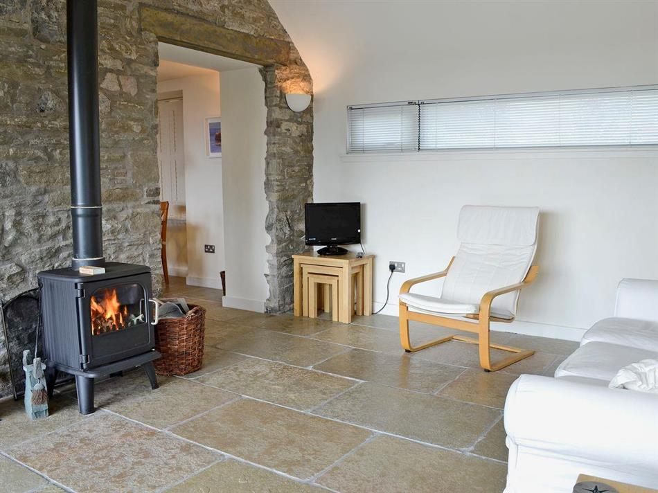 Living room with a wood burner in Bridge Cottage, Broughty Ferry near Dundee